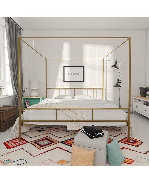 Novogratz Marion Canopy King Bed Canopy Bed Frame Gold Bed