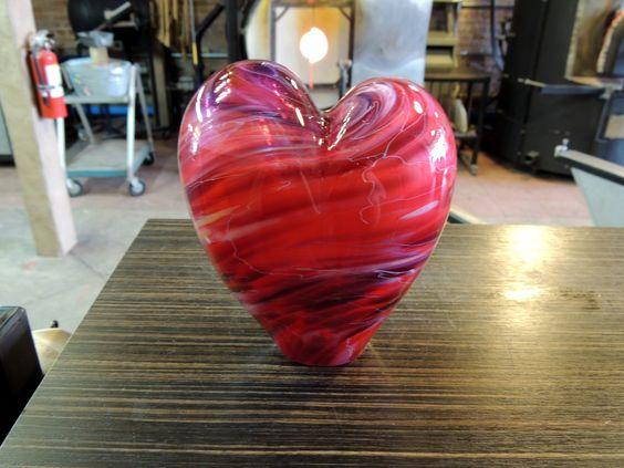 Handblown glass heart by Rhonda Baker
