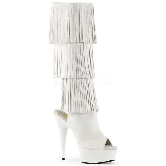 Pleaser Peep Toe Heel Fringed Knee High Platform Boot Zipper Delight-2019 White