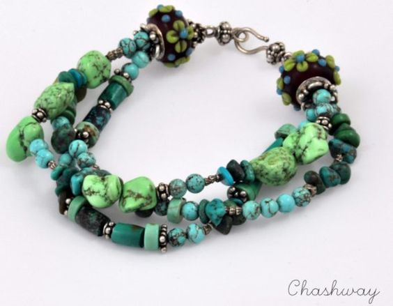 Bracelet Turquise Sterling silver Blues Sisters by chashway, $108.00