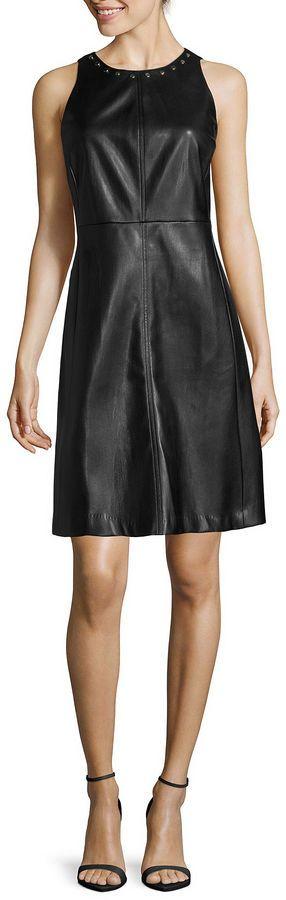 WORTHINGTON Worthington Sleeveless Faux Leather Shift Dress, schwarz, black, Leder Outfits, Ledermode, Leather, Fashion, Dress