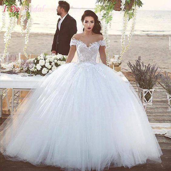White wedding dress turkey puffy tulle lace bridal dresses for Over the shoulder wedding dress