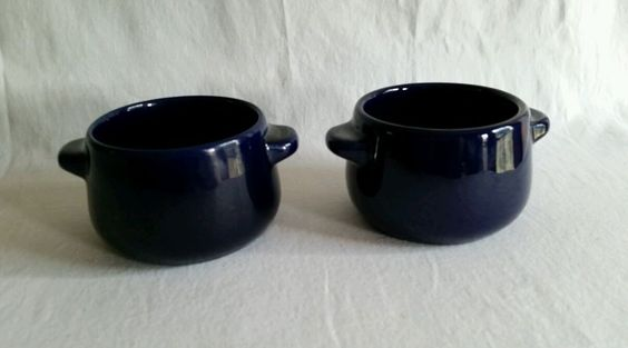 German Vintage Gerz W.Germany Pottery Crock Sugar Snack Bowl Cobalt Mid Century