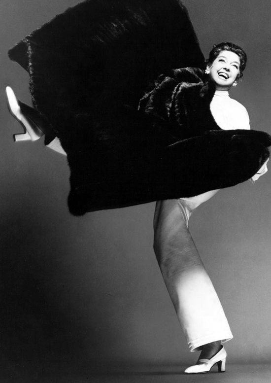 Richard Avedon, black and white fur series Rosalind Russell