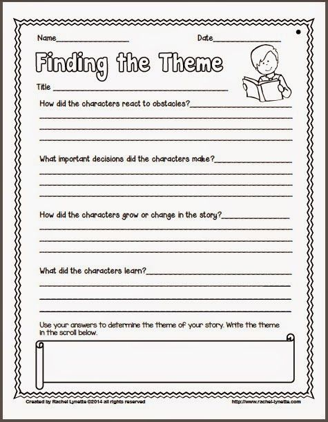 Ideas For Teaching Theme And A Couple Freebies Minds In Bloom Teaching Themes Reading Themes Teaching Story Elements 3rd grade theme worksheets
