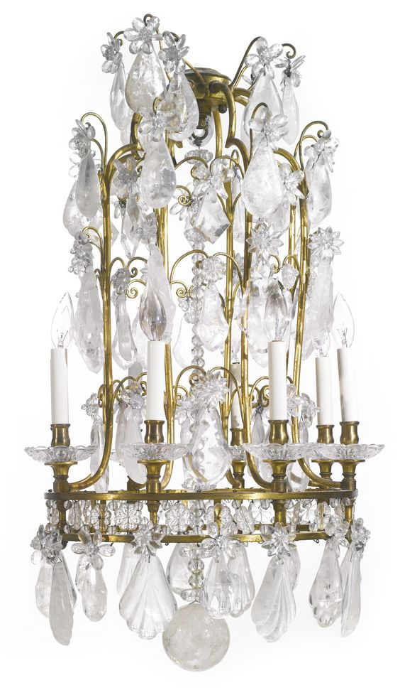 A Baroque style cut glass and rock crystal-mounted gilt bronze eight-light chandelier first half 20th century | Lot | Sotheby's