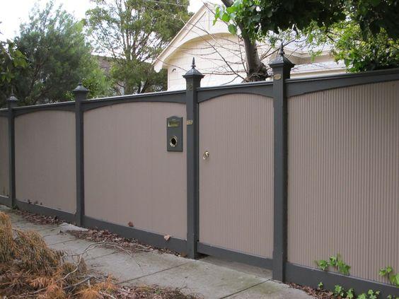 Image Of Corrugated Metal Fence Garden Design Fences