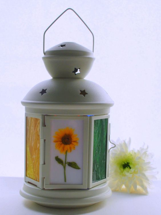 Sunflower Lantern Colorful Table Decor Candle by pennyglassgirl