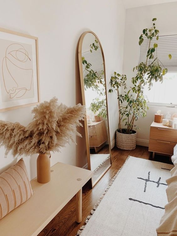 Large Palm Leaf Basket With Yellow Stand Shop At Maison Numen Aesthetic Room Decor Room Ideas Bedroom Bedroom Interior
