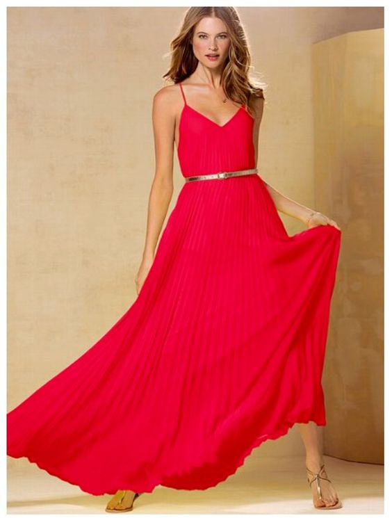 Coral maxi dress with gold accessories. Cute!  F A S H I O N ...