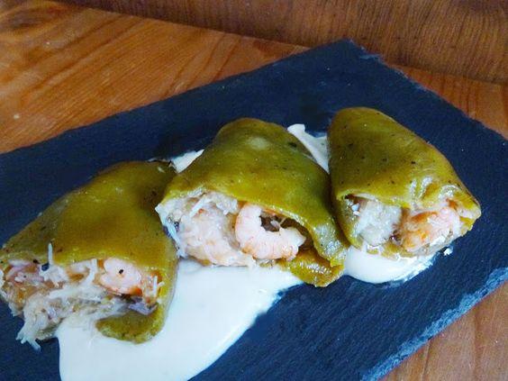 Pimentos del Piquillo...¡Verdes!..rellenos de Marisco