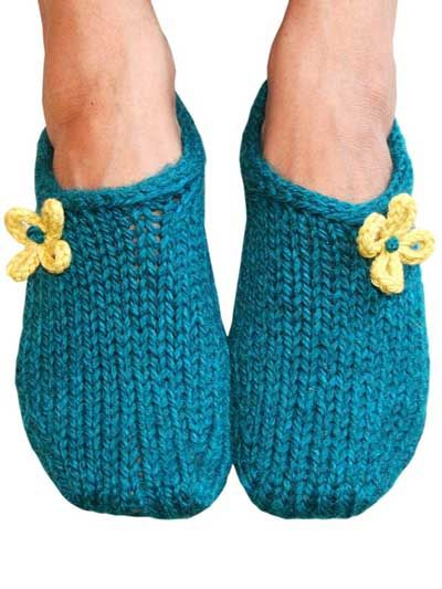Two Hour Toe Up Slippers Knitting Pattern Download from e-PatternsCentral.com...