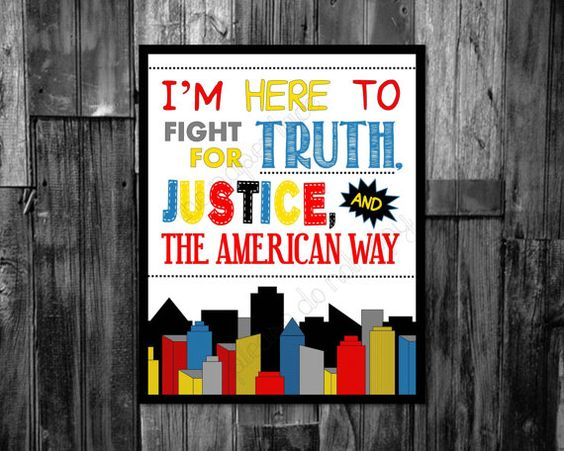 BOYS ROOM DECOR superhero nursery sign I'm here to fight for truth, justice, and the american way. Superman quote, Wall decor or superhero party sign. Instant digital download by ThePaperLace