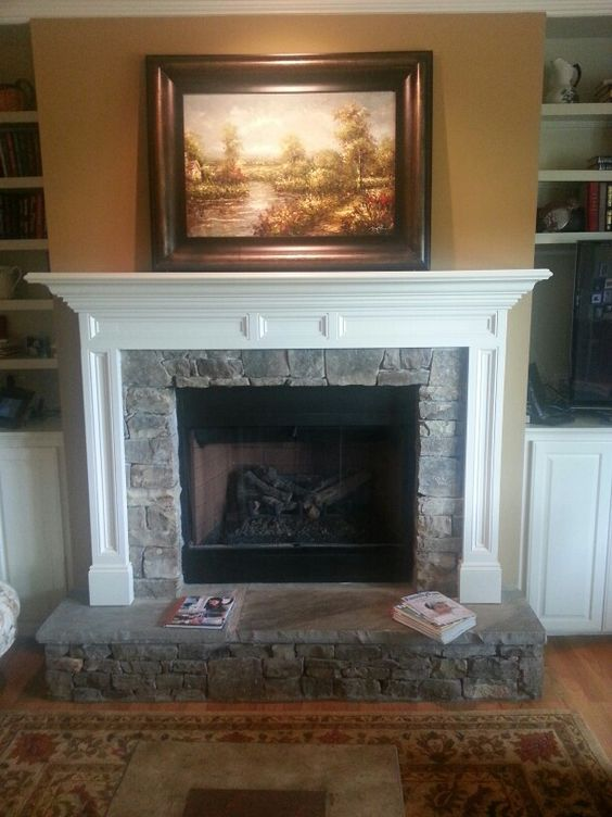 Stone Fireplace With Raised Hearth Fireplaces