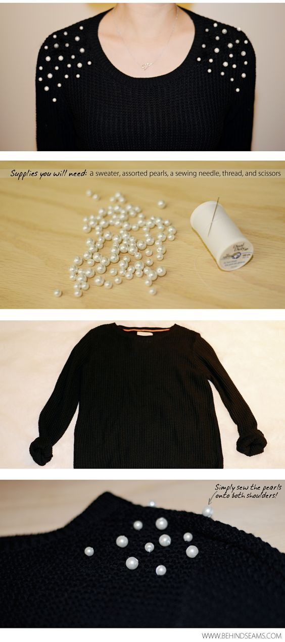 Create a one-of-a-kind shirt by adding pearl embellishments to a #Goodwill find. #DIY #fashion: