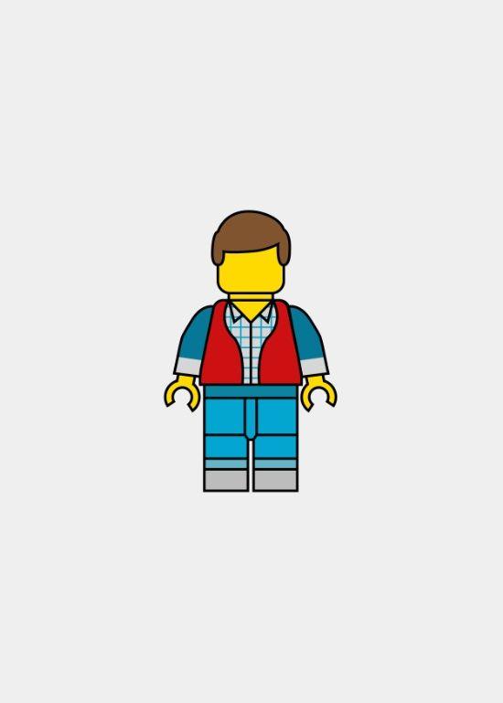 Marty McFly (Back to the Future) ~ Lego Man Art by Daniel Devoy #amusementphile