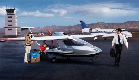 The Icon A5. World's most compact aircraft. It can land on water and you can easily tow it on the back of a trailer.