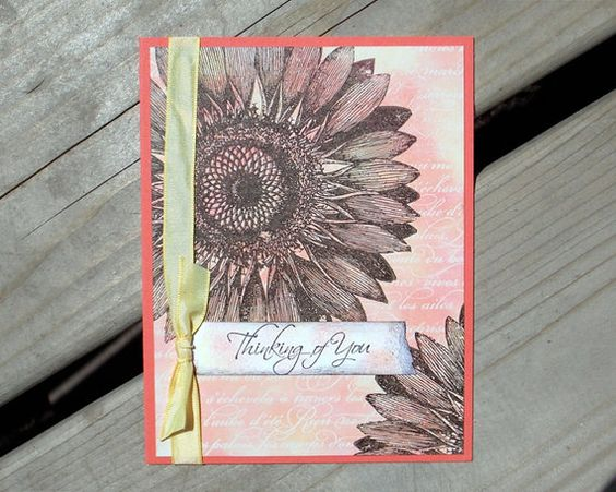 Thinking of You Card  Handmade Greeting Card  by saltonscovestudio,