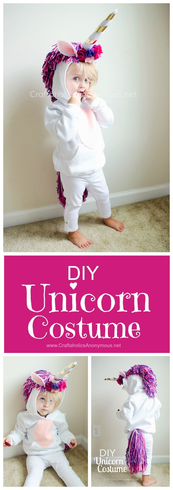 Unicorn Costume DIY Tutorial :: Such a cute handmade Halloween costume idea for kids!: