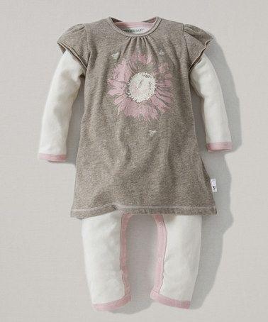 Dark Sand Heather Sunflower Organic Dress & Playsuit - Infant #zulily #zulilyfinds