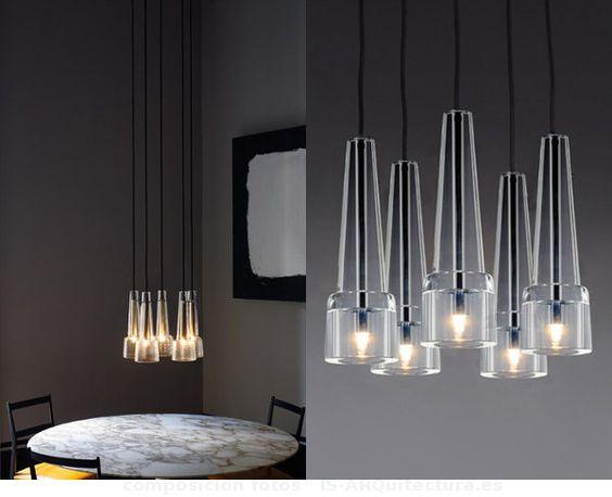 Keule5. Colección Keule de lámparas colgantes, con pieza cónica de vidrio que termina en forma de campana. Versiones Keule 1, 2, y 5.