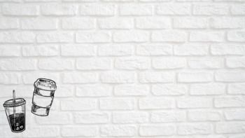 Zoom Background White Bricks With Sketched Coffee Design In Corner Brick Coffee Design Background