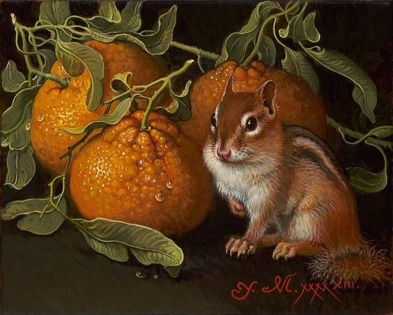 Yana Movchan (Ucrania, 1971). Orange with Chipmunk.: