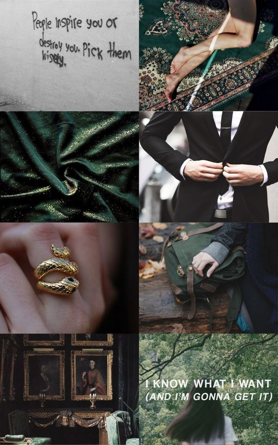 """olivieblake: """"Aesthetic: Slytherin   """"excuses are for people who don't want it bad enough"""" Gryffindor   Ravenclaw   Hufflepuff """""""