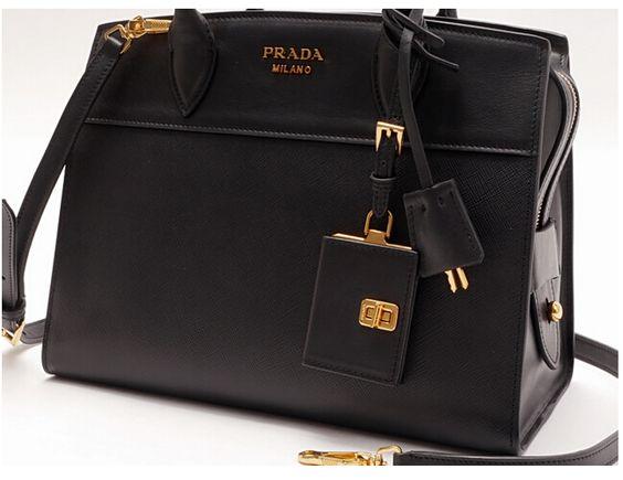 prada handbags online - Discount Prada Esplanade Saffiano and calf leather bag black,Prada ...