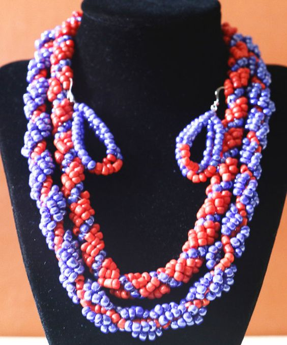 Blue and Red Bead Necklace Beaded Jewelry Set by AfrowearHouse