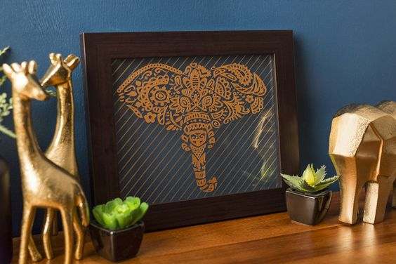 This intricate elephant art looks great as an art piece!