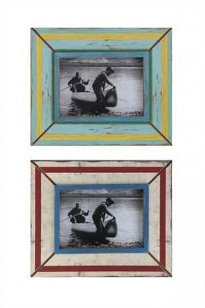 "Set of two distressed wooden picture frames. Each 11"" x 9"" frame accommodates a 5"" x 7"" photo. The colorful hand-painted frames are slightly distressed for vintage look that will accent your lake house decor."