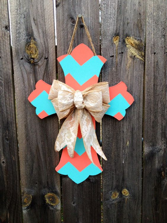 Chevron Cross Door Hanger with Burlap Bow by CraftyCoutureCandace