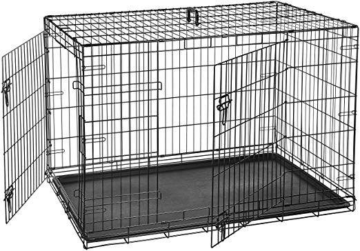 Amazon Com Amazonbasics Double Door Folding Metal Dog Crate 42 Inches Pet Supplies Dog Crate Large Dog Crate Pet Crate