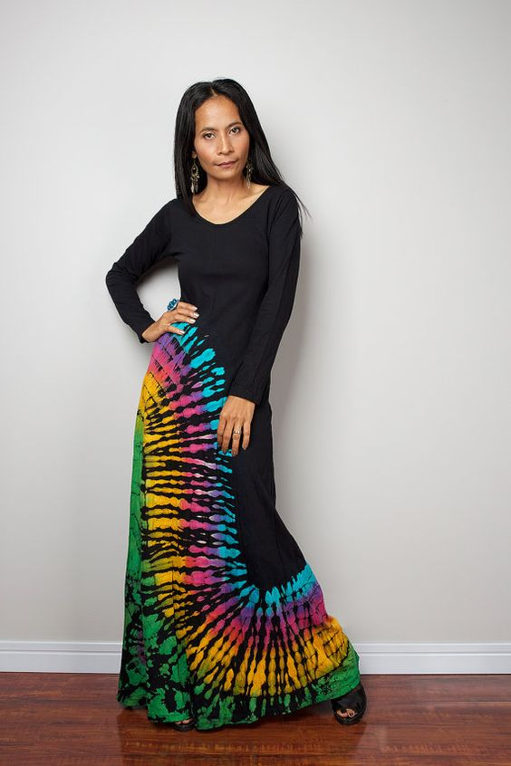 Rainbow Maxi Dress / Long Sleeved Tie Dye Cotton Maxi Gown : Funky ...