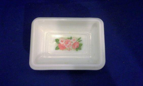 Avon Milk Glass Pink Roses Pedestal Soap Dish