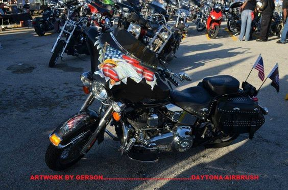 Eagle and flag patriotic custom motorcycle airbrush art by Henry Gerson of Daytona-Airbrush...check us out on facebook!