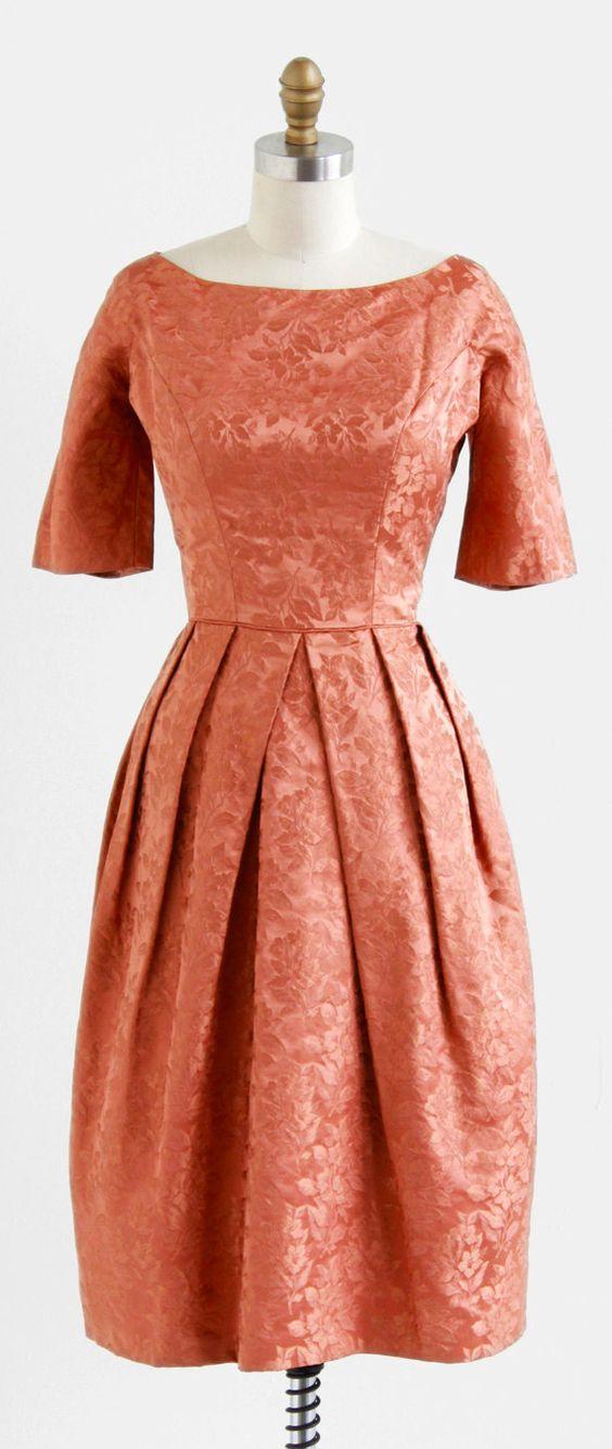 vintage 1960s dress / 60s cocktail dress / Satin Damask Copper ...