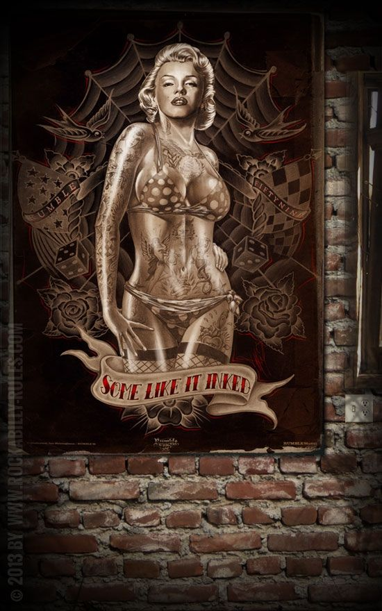 Poster and marilyn monroe on pinterest for Marilyn monroe with tattoos poster