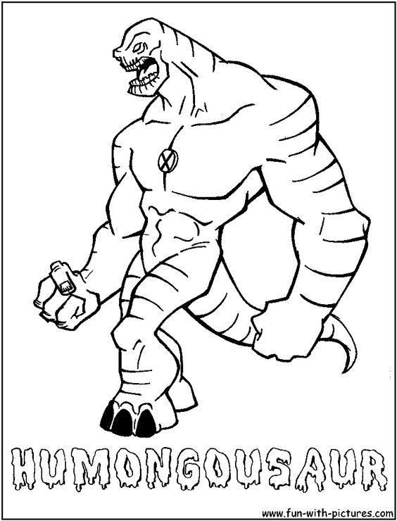 Humongosaur from ben10 alien force cartoon network for Cartoon alien coloring pages