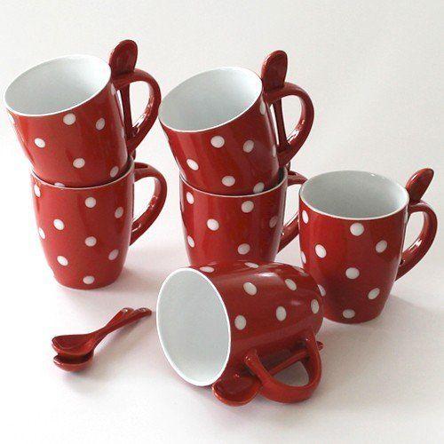 sch ne tassen mit l ffel kaffeetassen kaffeebecher rot. Black Bedroom Furniture Sets. Home Design Ideas