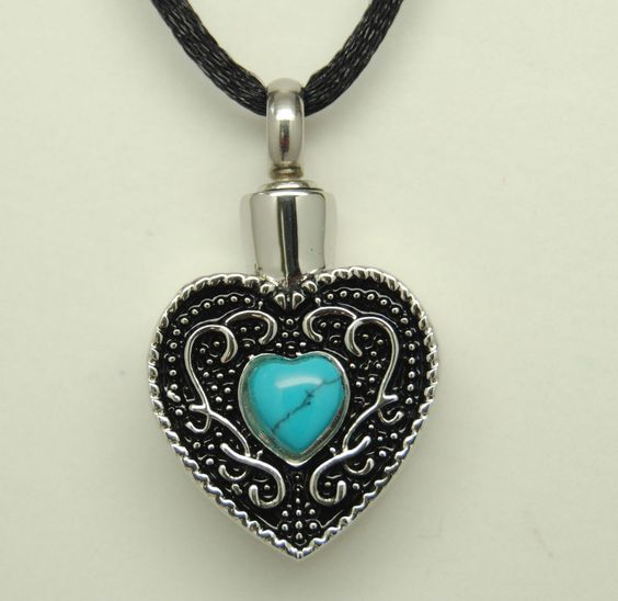 TURQUOISE CREMATION JEWELRY HEART URN NECKLACE MEMORIAL PENDANT KEEPSAKE URN