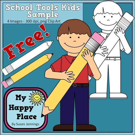 Free clip art - boy with pencil - commercial use OK