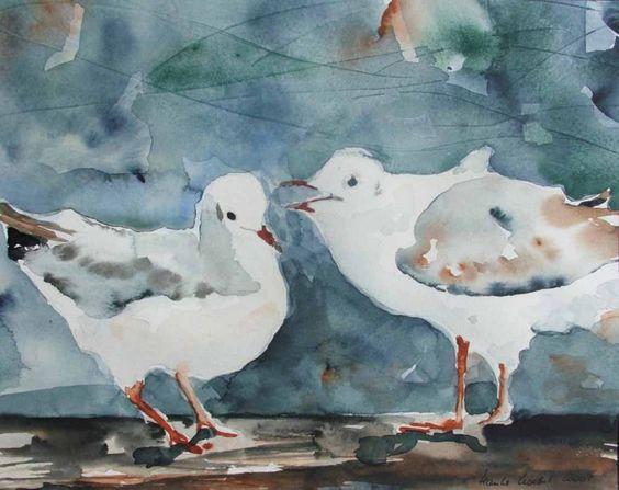 Unsere verkauften Bilder 2012 | schon gehört (c) Möwen Aquarell von Hanka Koebsch #Aquarell #watercolor #Möwen #seagull