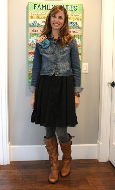 black dress, denim jacket, gray tights, brown boots and posies ...