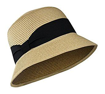 Natural Spring & Summer Cloche Straw Bucket Sun Hat w/ Ribbon Band at Amazon Women's Clothing store::