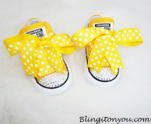 Yellow Converse Swarovski Bling Shoes 2-10 toddler. Click visit site button to order.