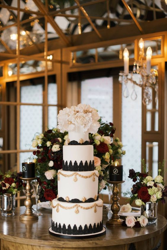Black, White and Gold Wedding Cake ~ we ❤ this! moncheribridals.com #blackandwhitewedding