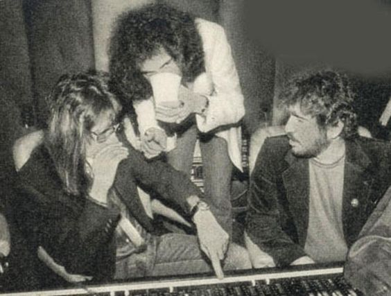 Ace, Gene & producer Vini Poncia at Electric Lady Studios, 1979