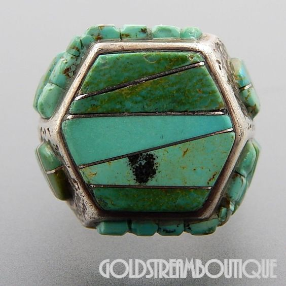 NATIVE AMERICAN VINTAGE ZUNI SIGNED STERLING SILVER TURQUOISE RAISED INLAY SUN FACE HEXAGON RING SIZE 9.5